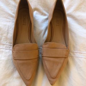 Schutz Nude Suede Pointed Toe Loafers